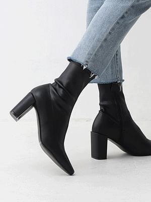 Two material slim square nose zipper Socks boot heel 1880
