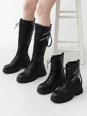 Long & middle diagonal zipper tassel decoration lace-up work boots 11082 ♡ 1st sold out♡