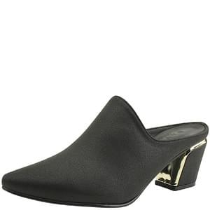 Stiletto Metal Middle Heel Mule Blower Black