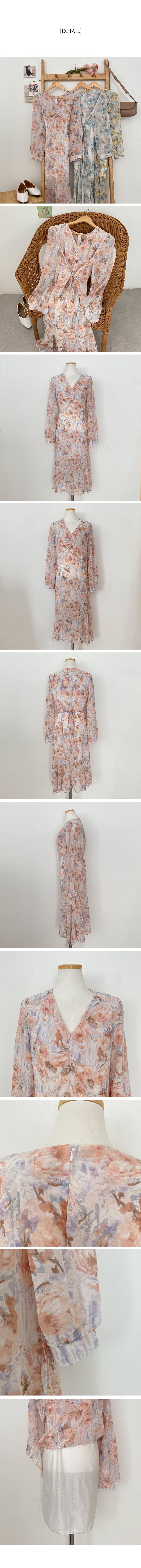 One drop of paint, flower mermaid long Dress