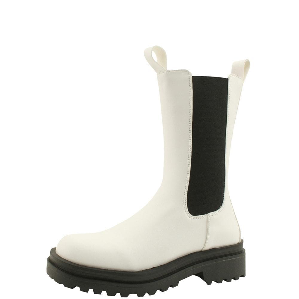 Chelsea Boots Banding Flat Walker White