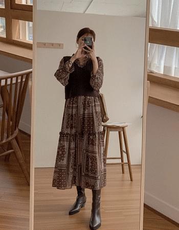 Ethnic frill long Dress