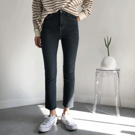 Deep Dark Slim Straight Denim Pants