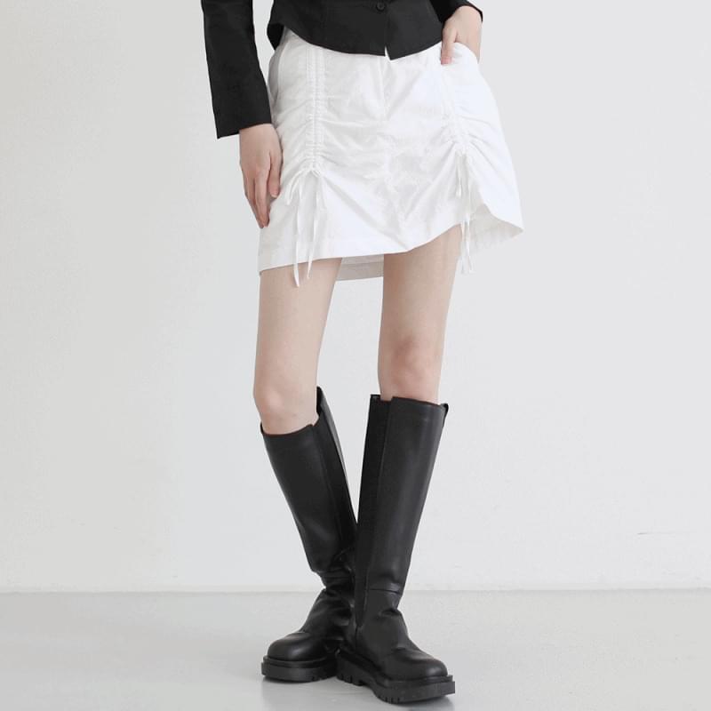 muted shirring mini skirt
