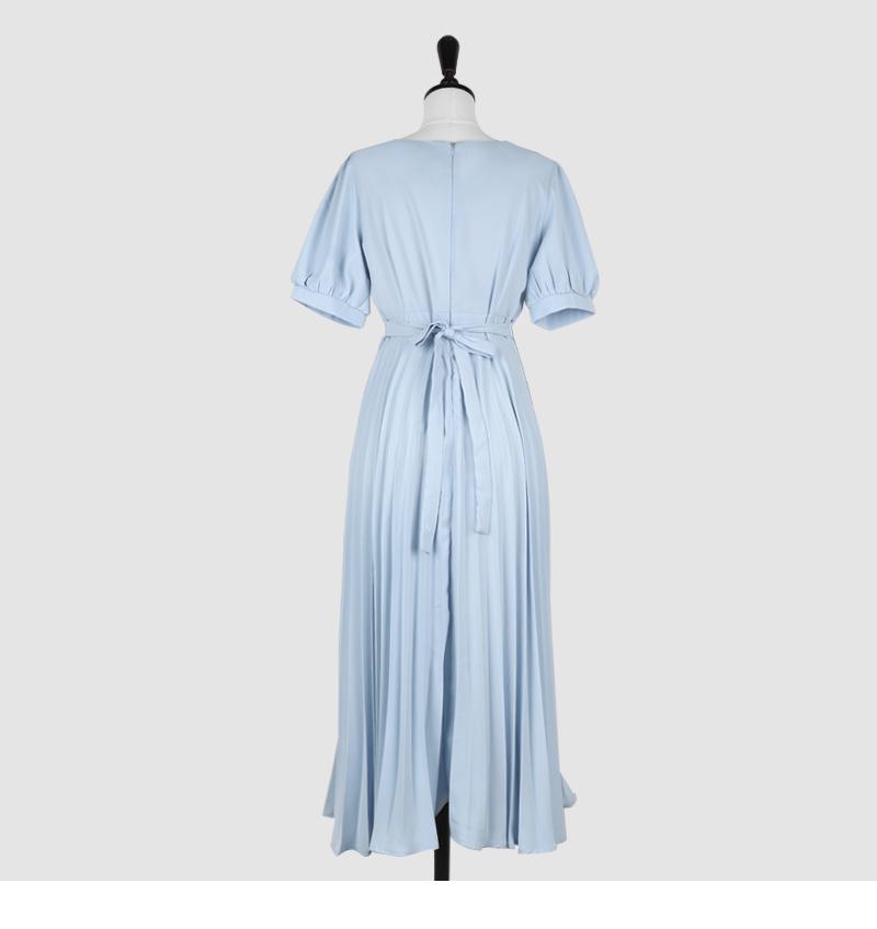 Short sleeve ver. Heart Neck Pleated Waist Strap Long Dress