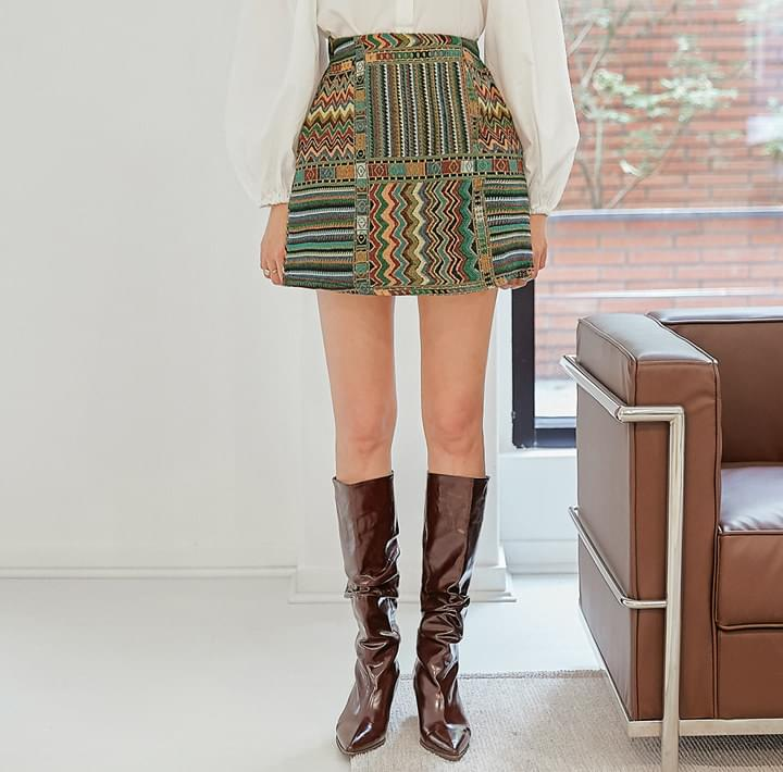 Assorted Pattern Mini Skirt