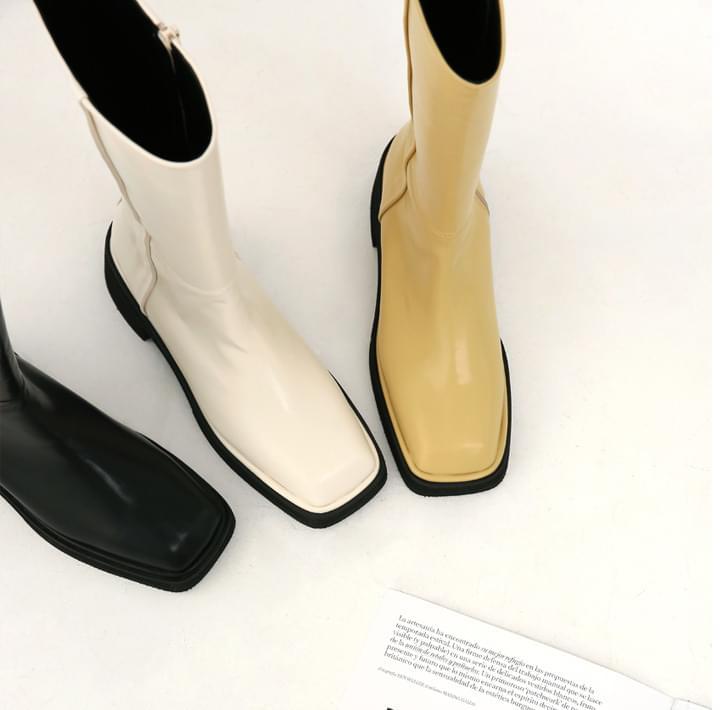 Solid Tone Mid-Calf Boots