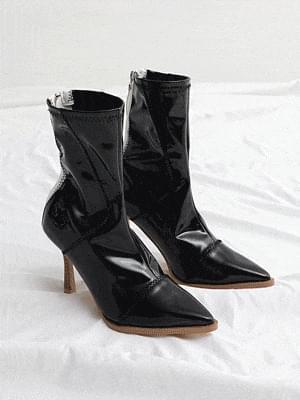 enamel zigzag stitch ankle boots 1899