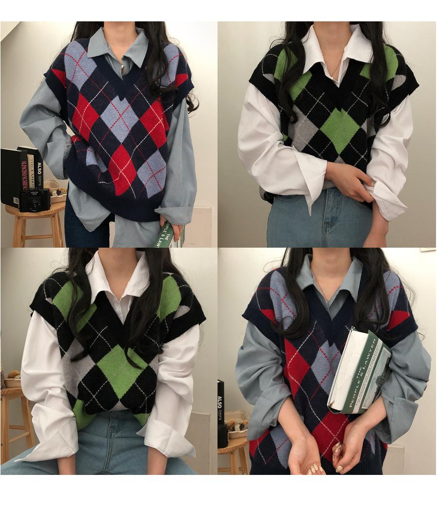 Rye Argyle Box Fit Knitwear Vest