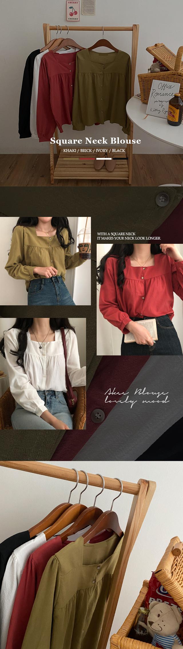Aiki square neck blouse
