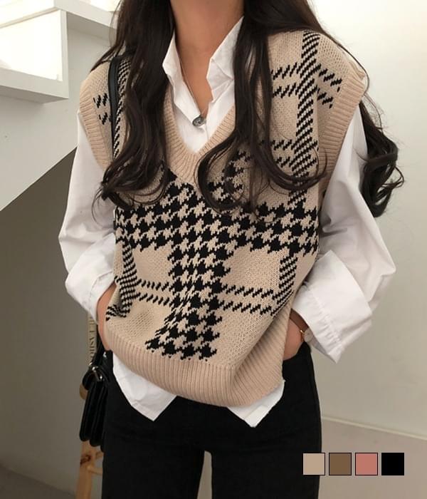 Chidori Check Overfit Vest Vest (Delayed delivery)