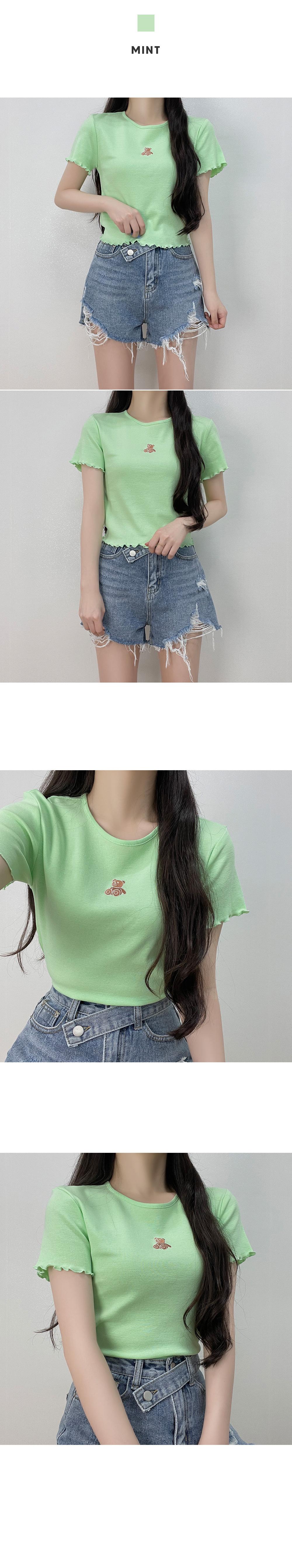 Bear cropped frill T-shirt