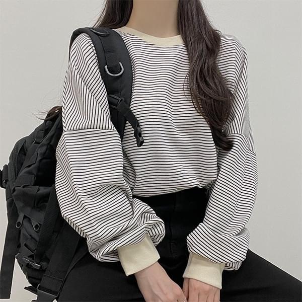 Cacao janjul Striped Sweatshirt avant-fit t-shirt