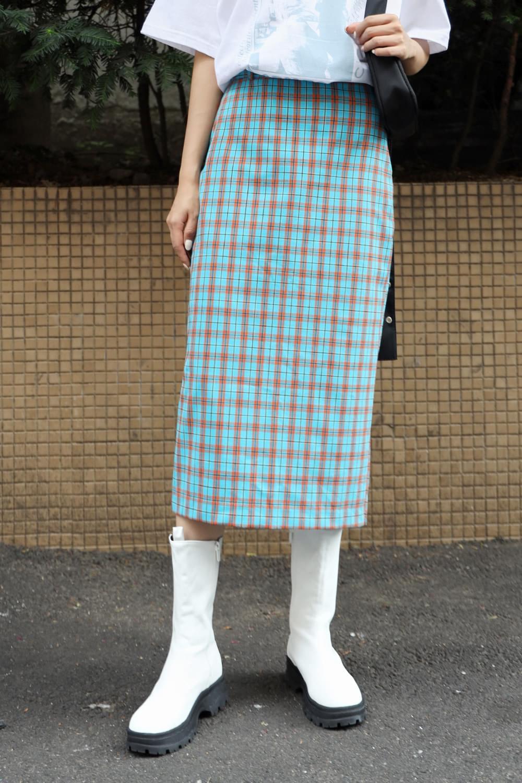H line check long skirt 裙子