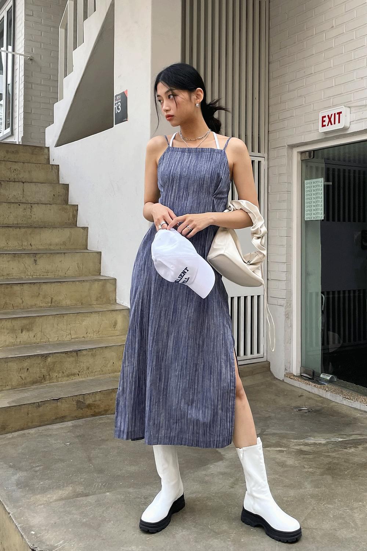 striped linen long slip Dress