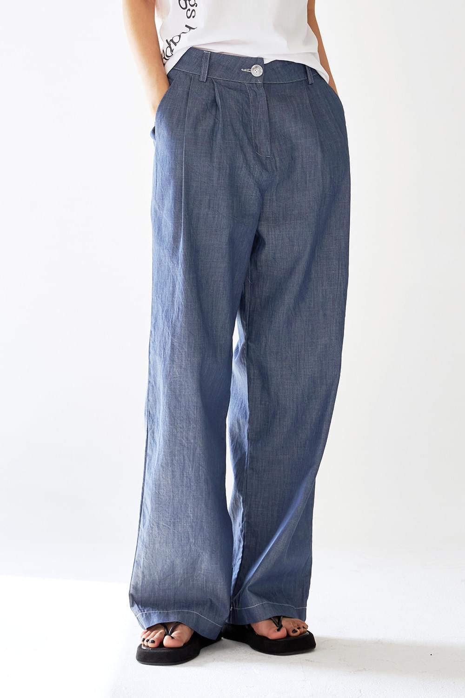 Cotton wide denim slacks
