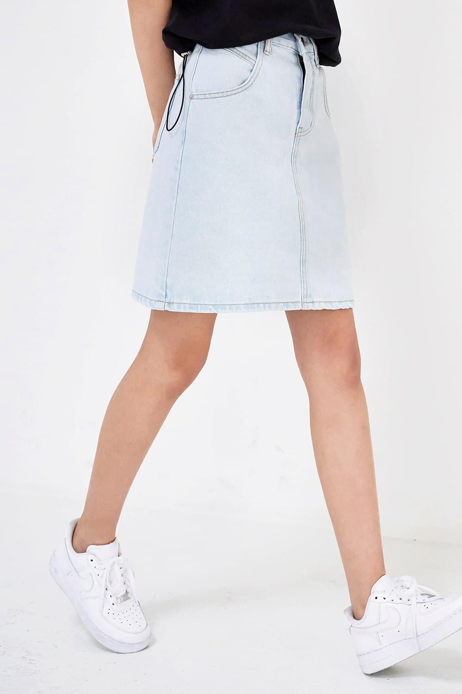mini length denim skirt