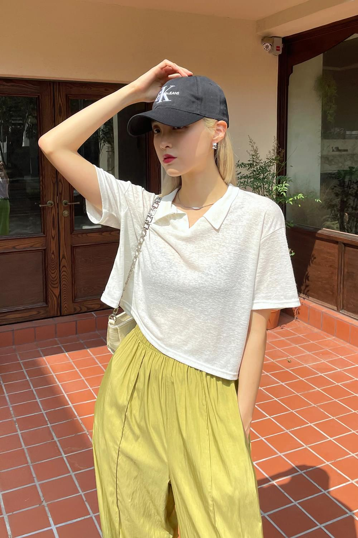 slub collar cropped T-shirt