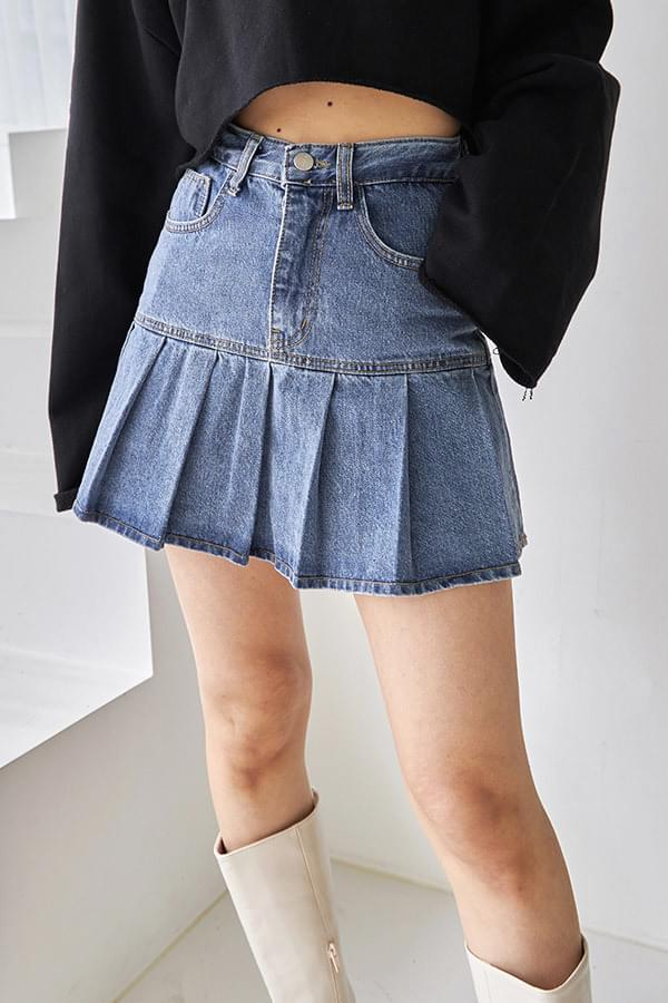 Ferrule Pleated Denim Skirt Pants