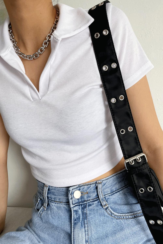 collared Ribbed cropped T-shirt 短袖上衣