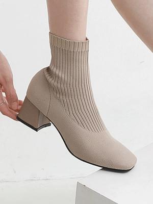 Square Nose Shape Middle Heel Shibori Knitwear Ankle Socks Boots 7079