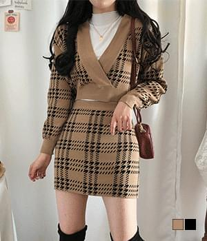 Dria Check V-Lab Knitwear + Skirt Two-Piece Set