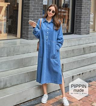 Side Split Denim Shirt Long Dress #38070