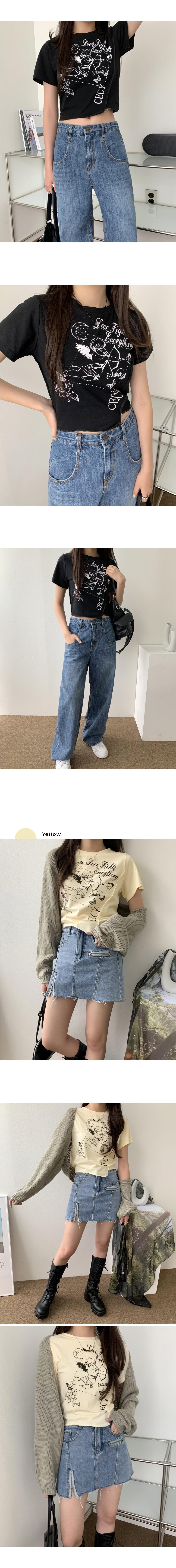 Heath Angel Print Unfoot Stitch Crop T-shirt