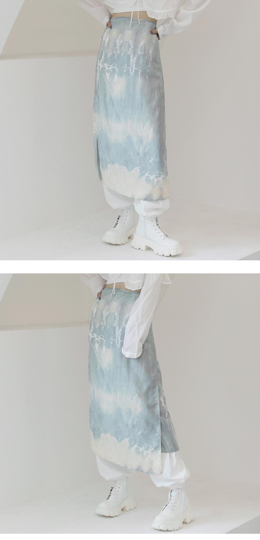 glen tie-dye wrap skirt