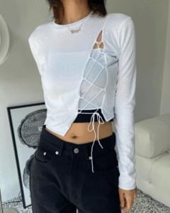 Layered diagonal strap cropped long sleeve tee