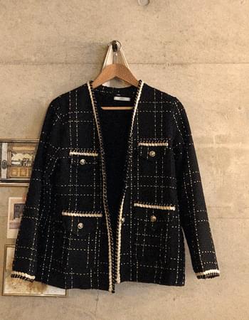 Goldie no-collar tweed jacket
