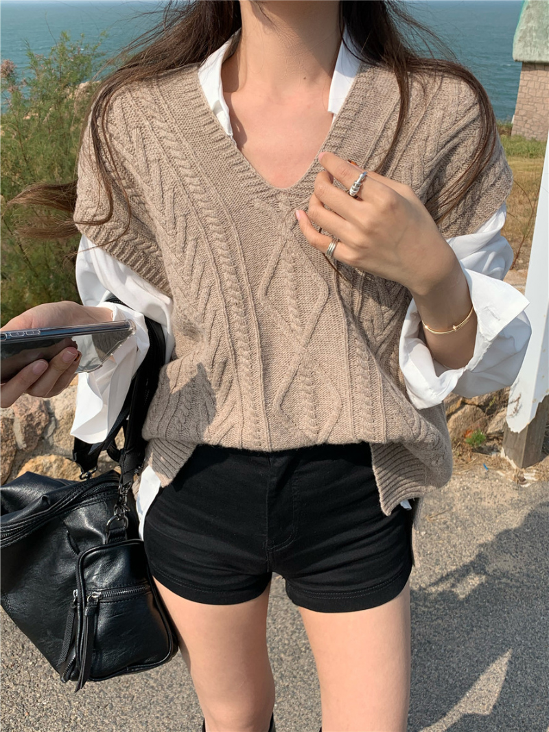 vt5754 Turning Loose-fit Fit Twisted Knitwear Vest