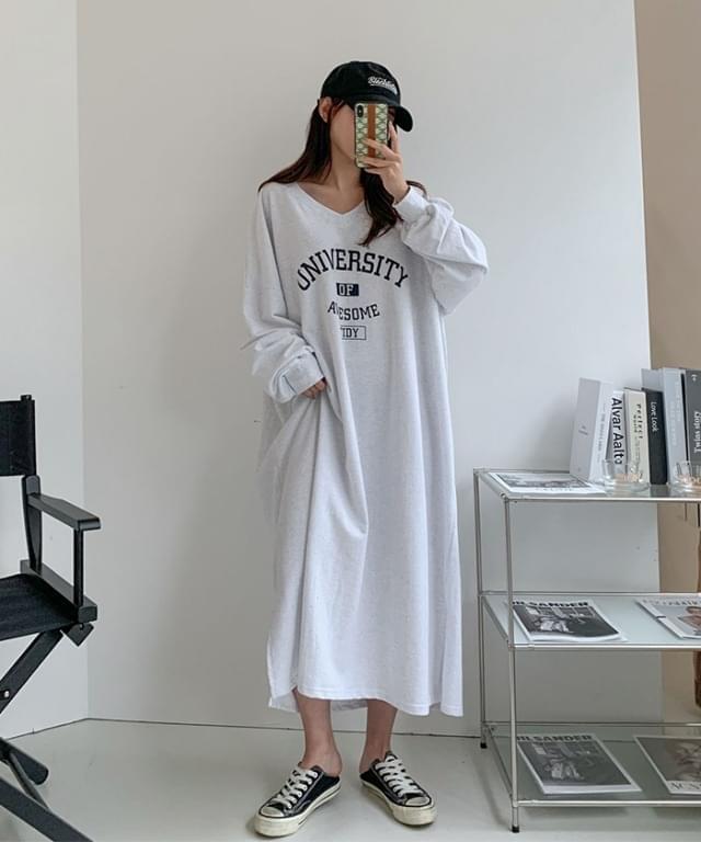 Big Size 55-120 University Letter V-Neck Long Dress