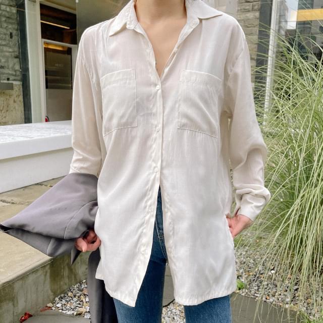 veil slit shirt blouse