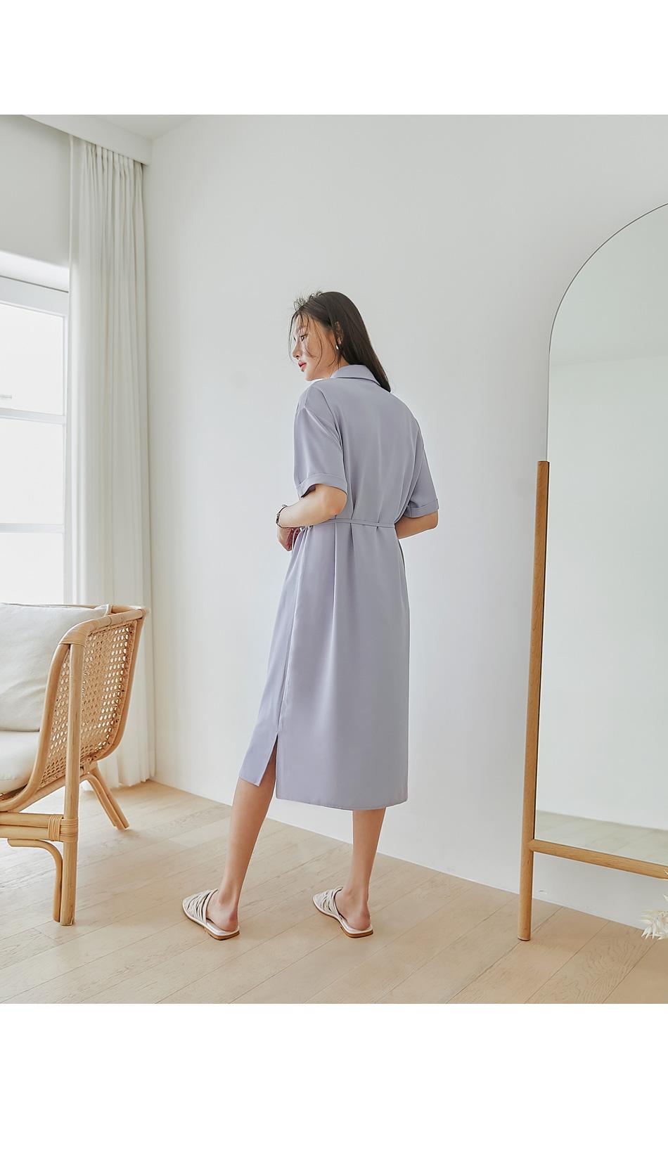 Self-Tie Strap Shirt Dress