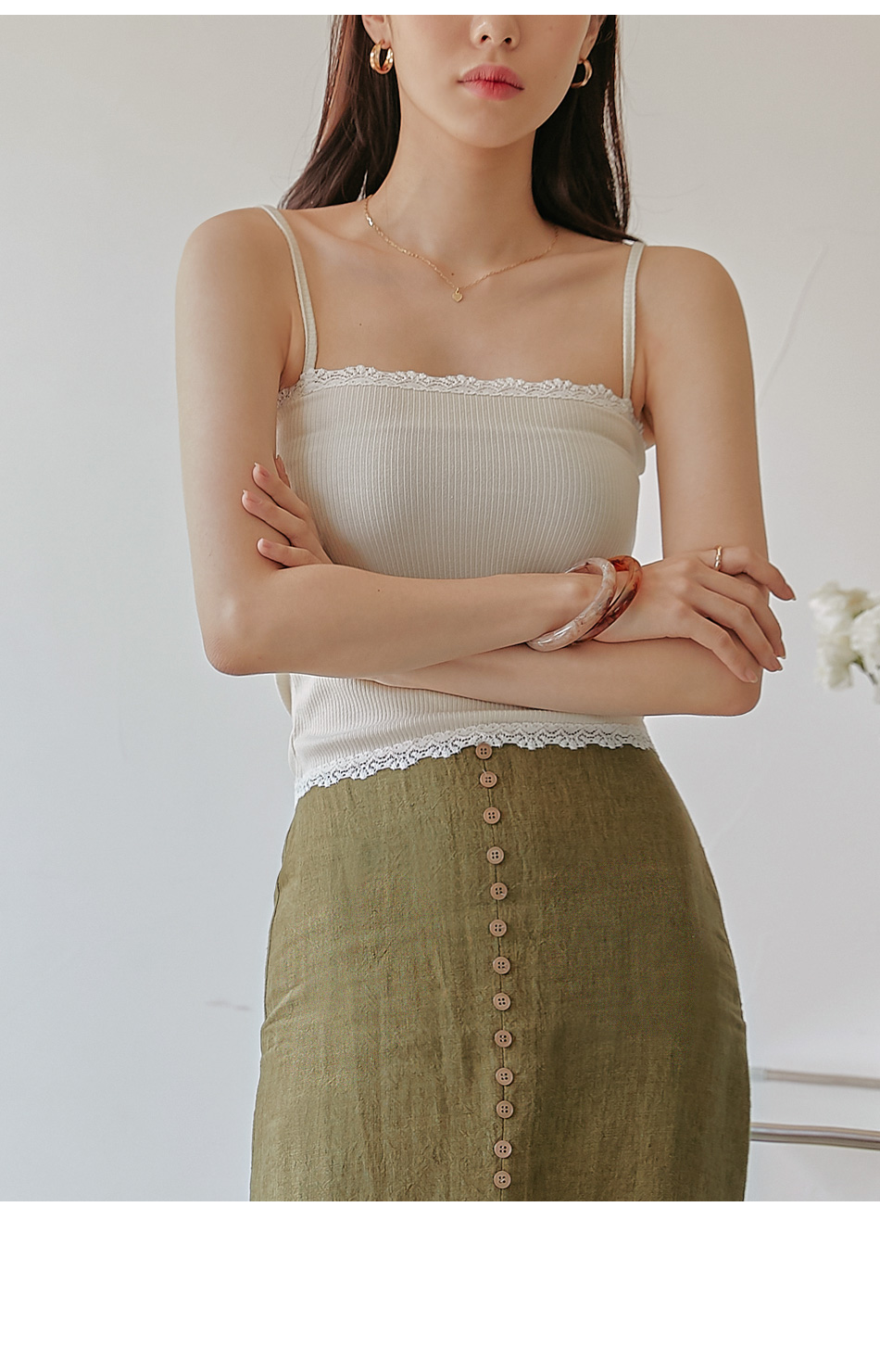 Lace Trim Slim Sleeveless Top