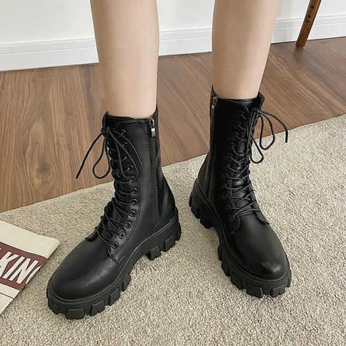 Lace-up Middle Lightweight Whole Heeled Worker Boots S#YW010