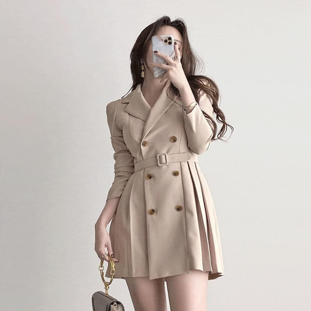 Straight shoulder pin tuck wrinkle belt double jacket Dress 4color