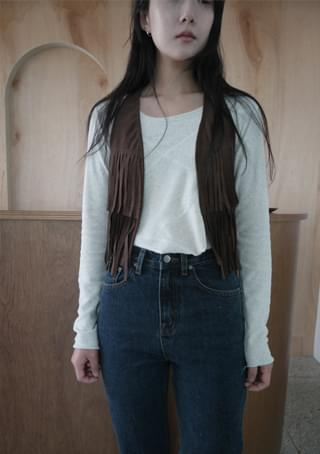 western fringe vest (2colors)