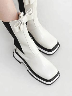 Square Nose Double Ribbon Whole Heel Chelsea Long Boots 11085