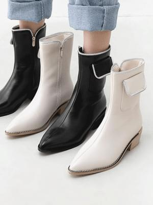 Zipper & Pocket Decoration Pointed Nose Tsumi Heel Middle Heel Ankle Boots 11073
