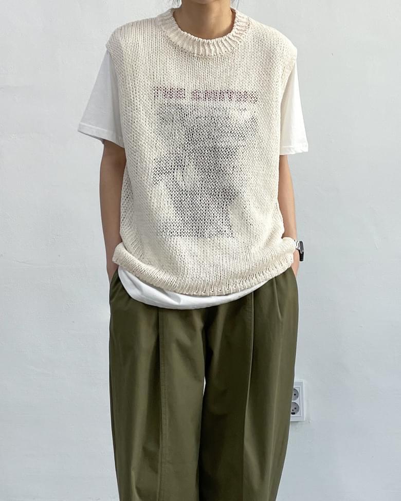 Round See-through Knitwear Vest