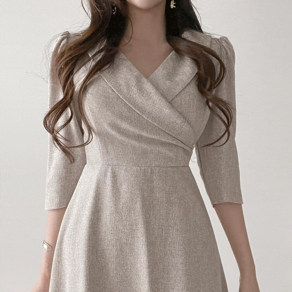 7 parts shawl collar puff wrap A-line tweed Dress 2color