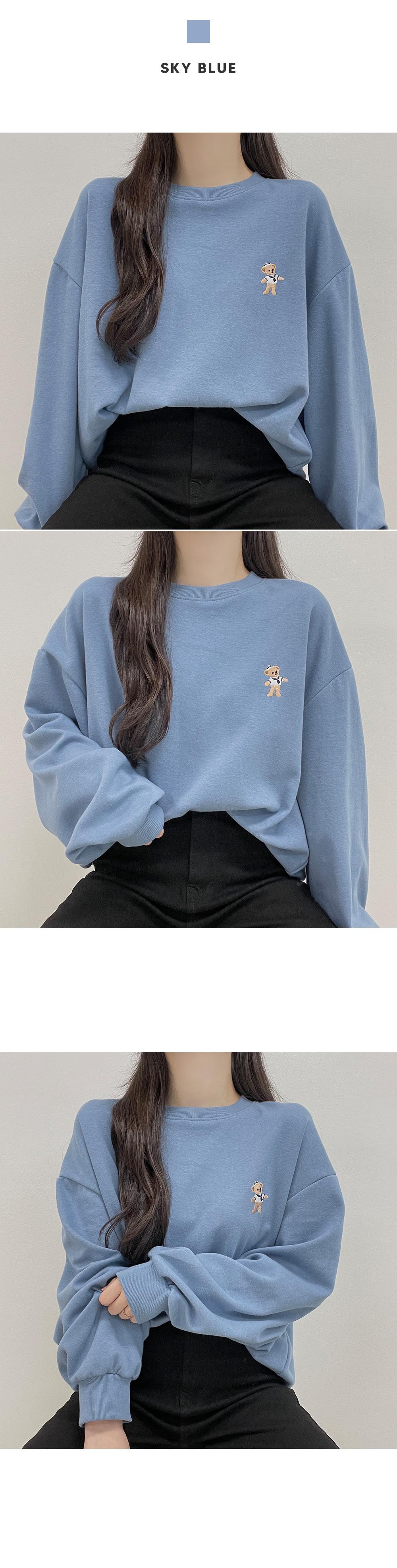 Teddy bear embroidered round Sweatshirt