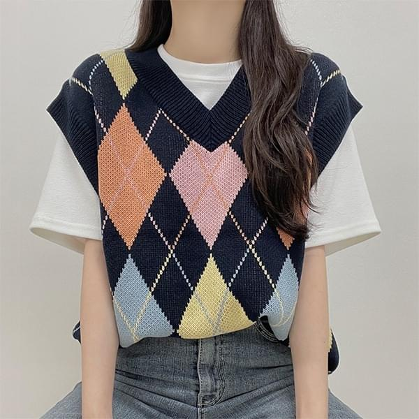 DIA, Argyle V-Neck Knitwear Best Vest