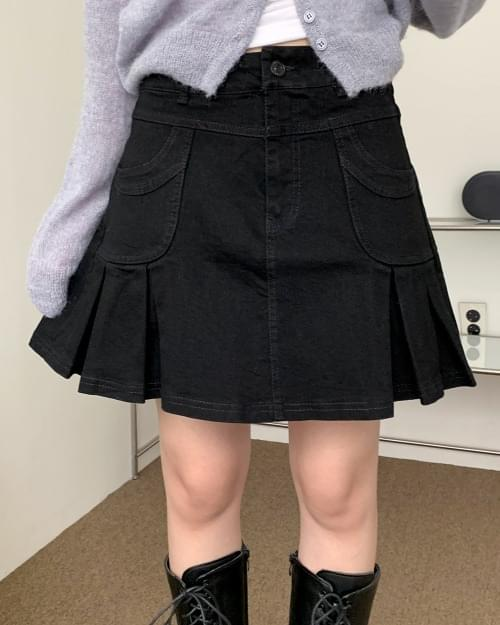 Fuzzy Teen Black Pleated Skirt