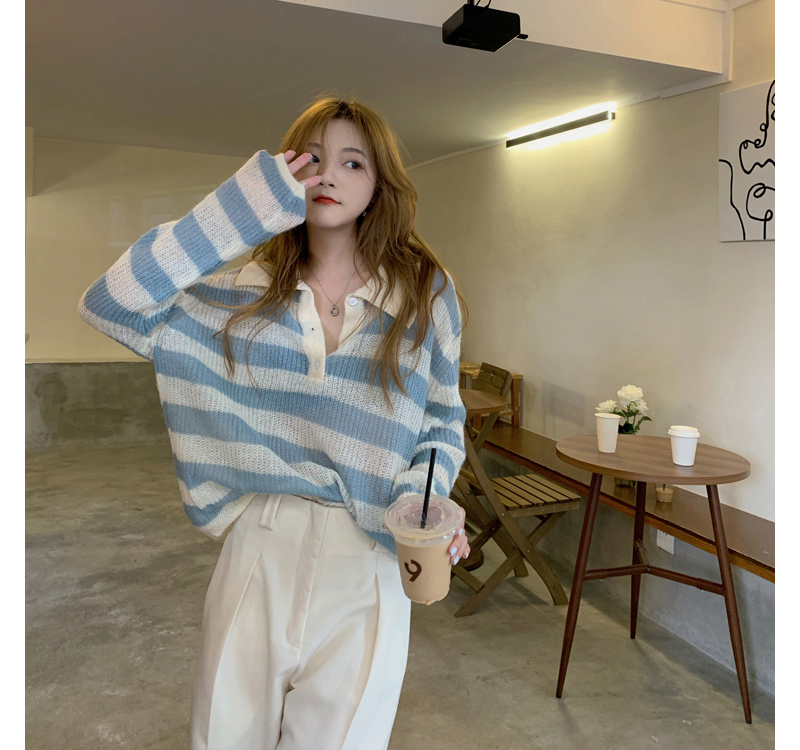 kn5785 Ferrial Stripe Collar Knitwear