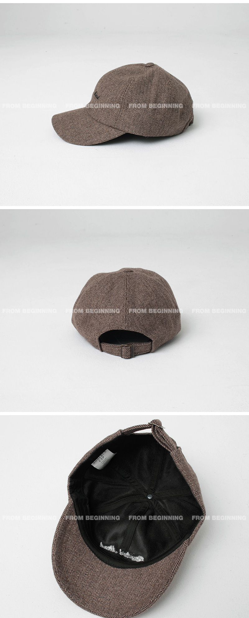 Herringbone Lettering Wool Ball Cap