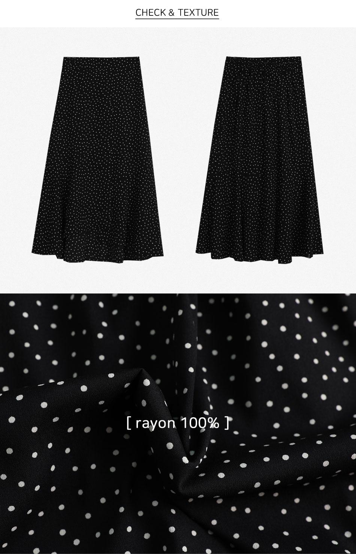 圓點印花不對稱襬開衩長裙