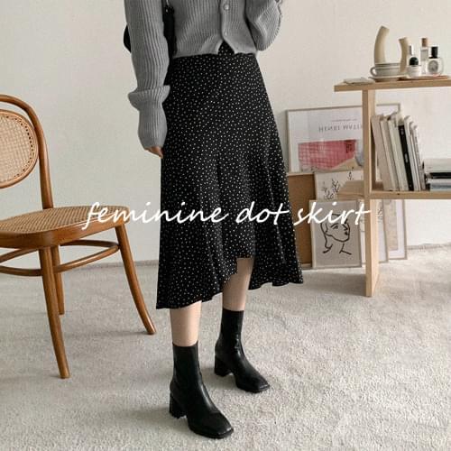 J-dot unwalted long skirt